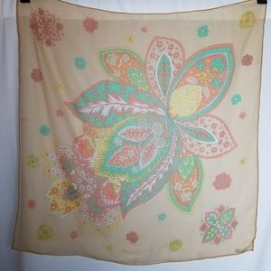 "Vintage 1960s sheer silk 27"" square scarf Paoli"